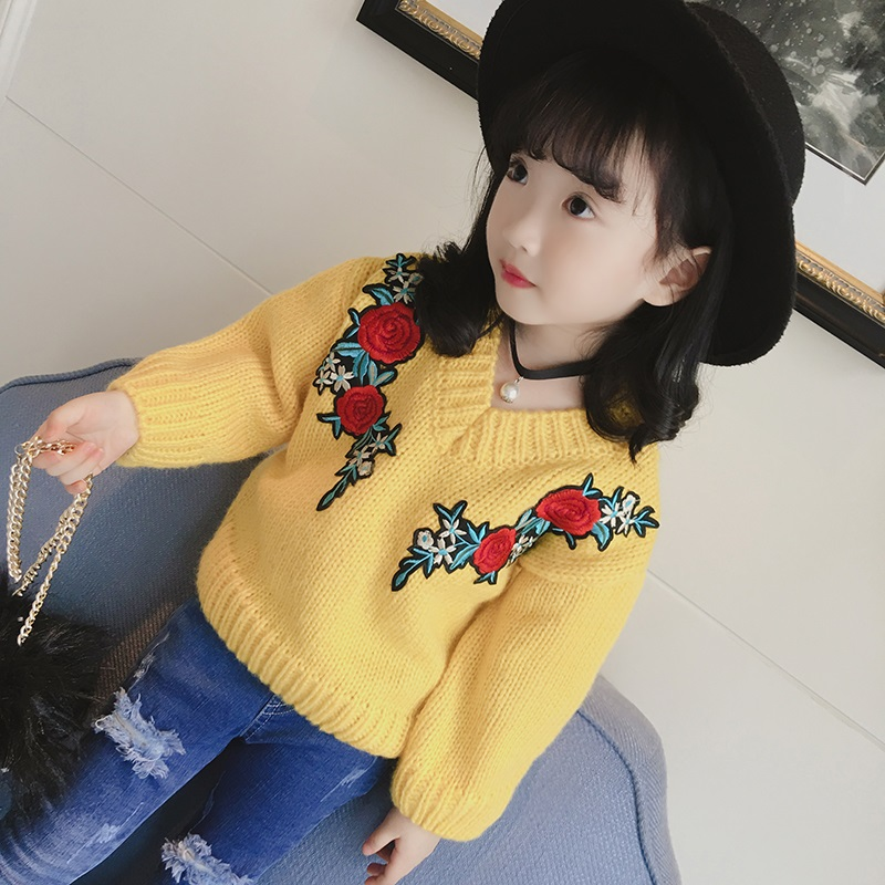 New 2017 Kids V Neck Sweaters Baby Girls Florals Sweaters Children Autumn Clothes Toddlers Long Sleeve Sweaters,3-8Y,#2177