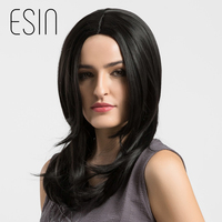 Esin Hair Synthetic Heat Resistant Centre Parting Hair Wigs Long Silky Straight Black Halloween Hair Costume