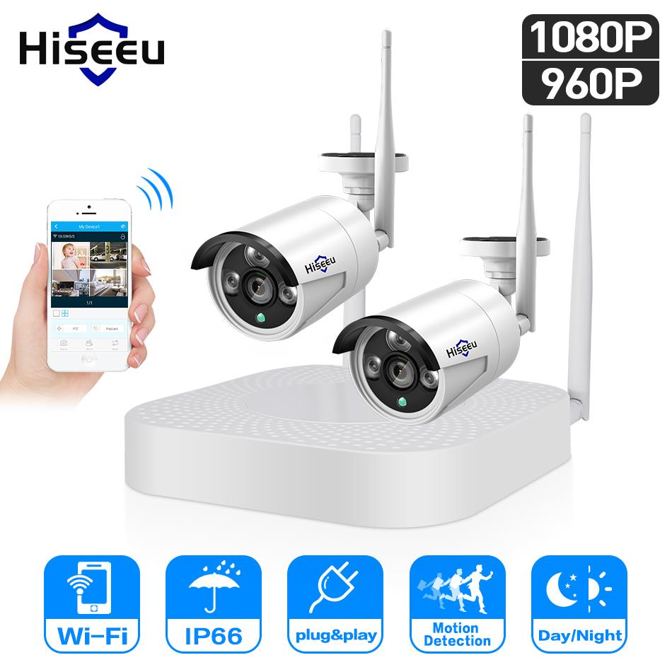 Hiseeu 4CH 960 p/1080 p Sistema di telecamere tvcc Wireless wifi 2 pz 1.3MP 2MP impermeabile IP camera outdoor kit di sicurezza cctv allungabile