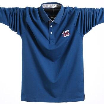 2019 Polo manches longues surdimensionné t-shirts coton homme grand t-shirt automne mince ample grande taille 5XL hommes décontracté Polo chemise hommes