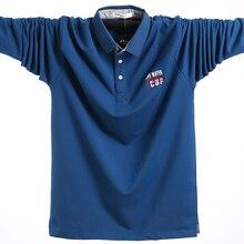 2020 Camicia di Polo A Maniche Lunghe di Grandi Dimensioni Magliette Cotone di Sesso Maschile di Grandi Dimensioni Tee Autunno Sottile Allentato Più Il Formato 5XL Uomini Casual Polo degli uomini della camicia