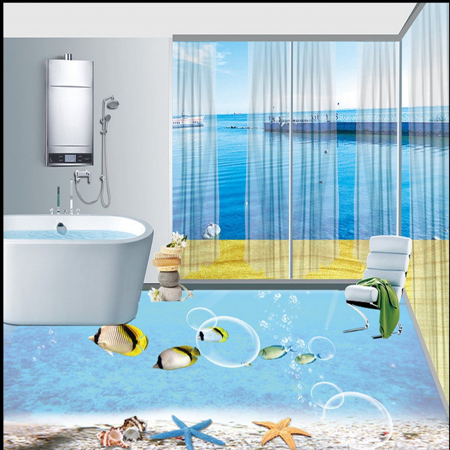 купить Free Shipping underwater world dolphin floor tile painting stereo hotel living room bedroom flooring mural wallpaper по цене 7992.84 рублей