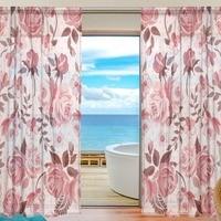 2Pcs Pastoral Modern Flower Design European Duplex Printing Tulle for Living Bedroom Roses Curtains Transparent Sheer Curtain