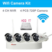 4Channel HD 4CH NVR 720P Wireless CCTV System font b Outdoor b font Waterproof IP66 Night