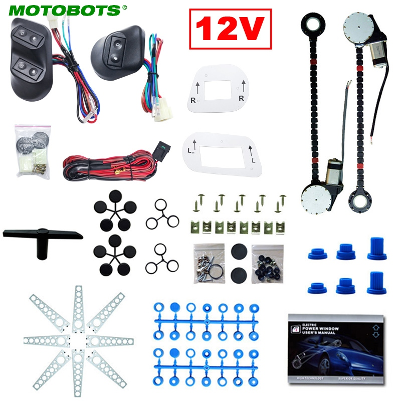 MOTOBOTS DC12V Universal 2-Doors Electric Power Window Kits With 3pcs/Set Switches & Wire Harness  #CA3884