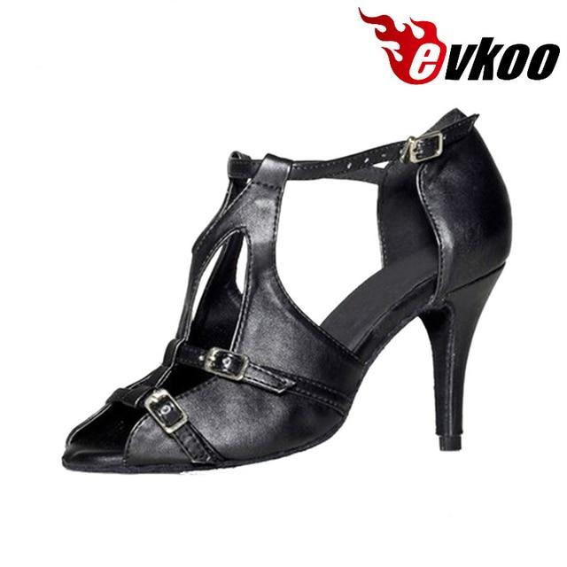 8de4927684a7f Evkoodance En Cuir Danse Chaussures Femmes Taille NOUS 4-12 Latine Salsa  8.5 cm Talon Hauteur Noir En Cuir Confortable Evkoo-447
