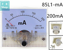 1 pces ac 85l-l1-ma 200ma branco escudo plástico painel analógico amp meter 85l1 amperímetro