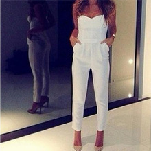 White black Strapless backless women jumpsuits long overalls jumpsuits with pockets women combinaison femmes Jumpsuit mujeres