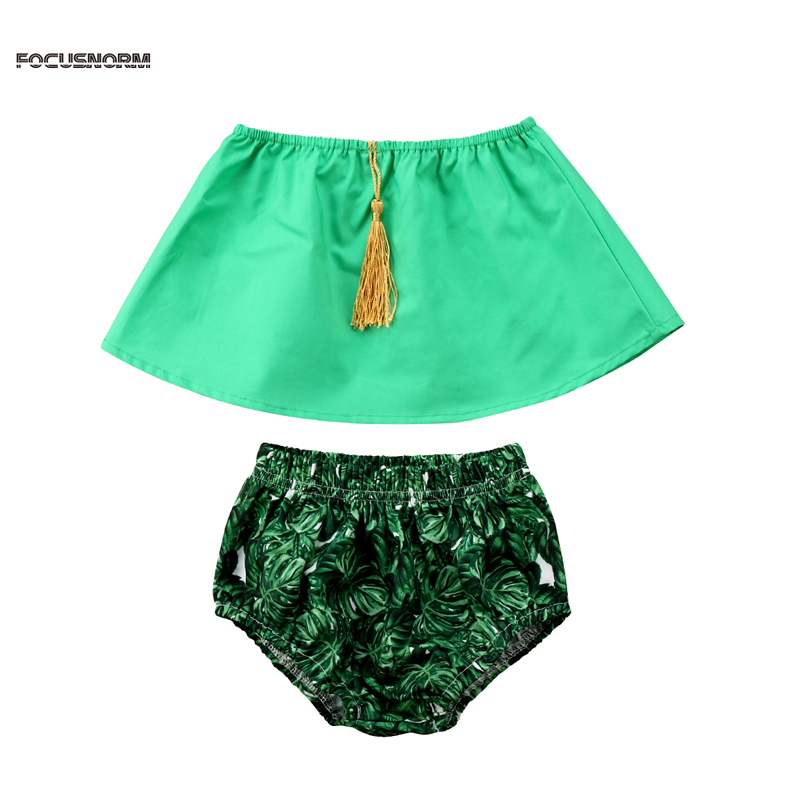 New Fashion US STOCK Newborn Baby Girl Clothing Set Summer Sleeveless Tops+Buttom Shorts Outfit Set 0-24M