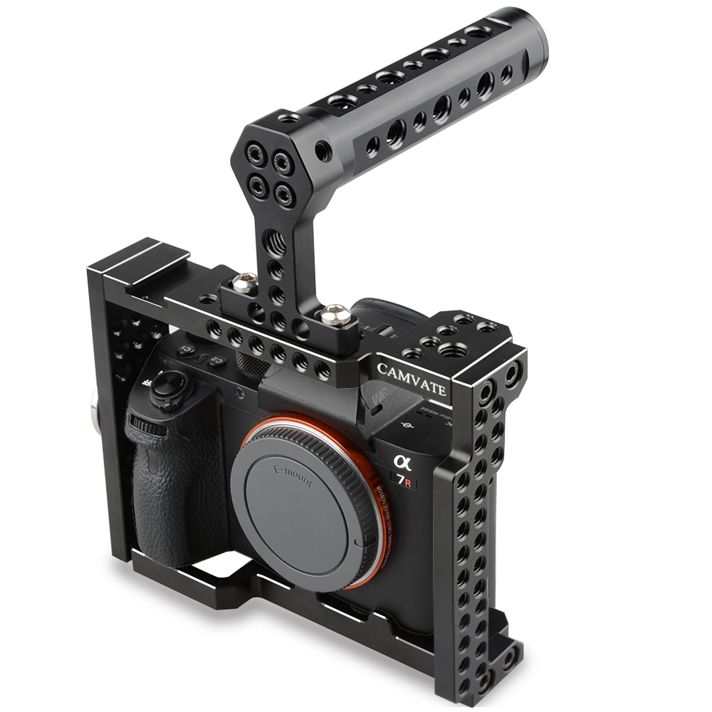 CAMVATE Camera Cage Rig with Top Handle Grip for Sony A7 Series camvate wooden camera handle dslr handgrip fr dv video cage rig right