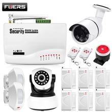 Fuers GSM Alarm Sistemleri Güvenlik Ev Alarm Sistemi Kitleri Rusça Sesli PIR Hareket Sensörleri Ile Kapı Dedektörleri Açık IP Kamera
