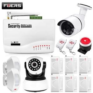 Image 1 - Fuers GSM Alarm Sistemleri Güvenlik Ev Alarm Sistemi Kitleri Rusça Sesli PIR Hareket Sensörleri Ile Kapı Dedektörleri Açık IP Kamera