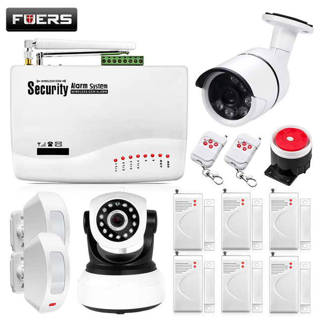 Cheap Fuers GSM Alarm Systems Security Home Alarm System Kits Russian Voice With PIR Motion Sensors Door Detectors Outdoor IP Camera