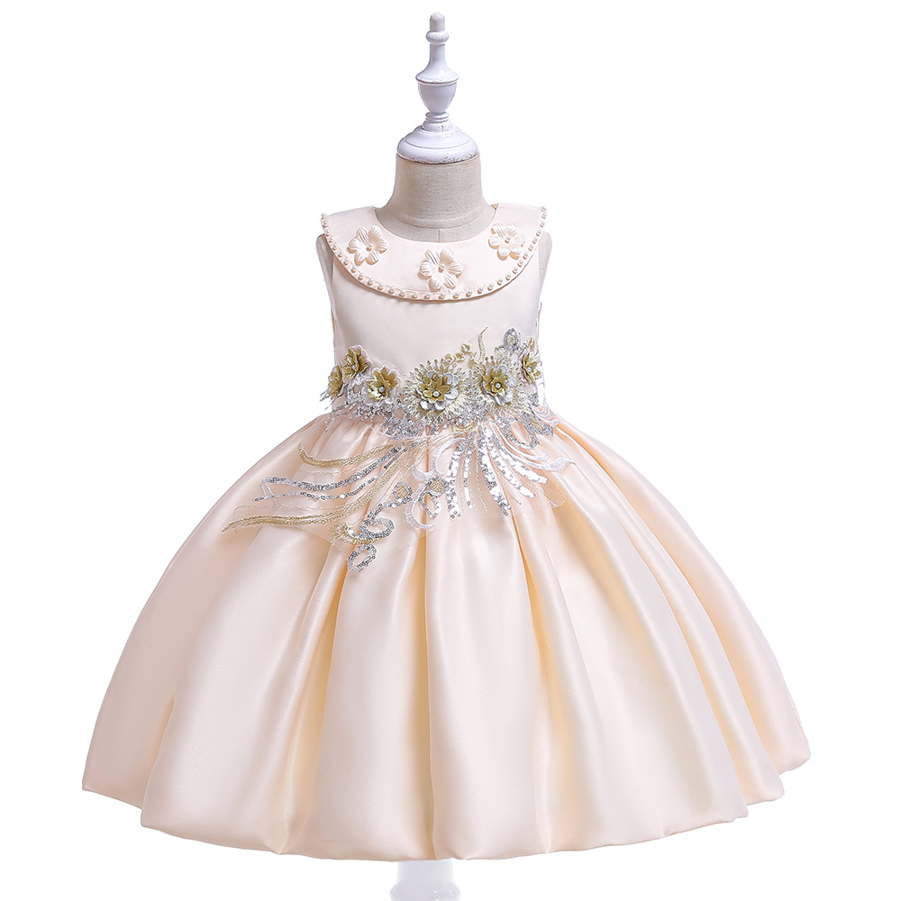 New Design A-Line Scoop Champagne Satin   Flower     Girl     Dresses   with PearlsBow Tutu   Dresses     Flower     Girl     Dress   2019