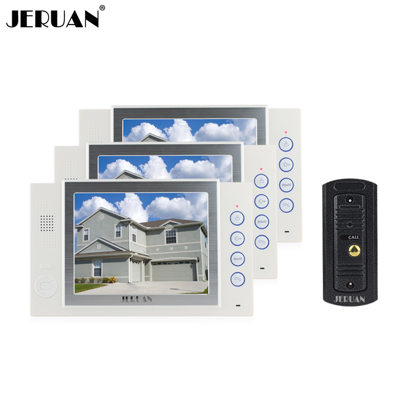 JERUAN 8 inch video door phone intercom system doorbell video recording photo taking metal shell outdoor jeruan 8 inch video door phone high definition mini camera metal panel with video recording and photo storage function