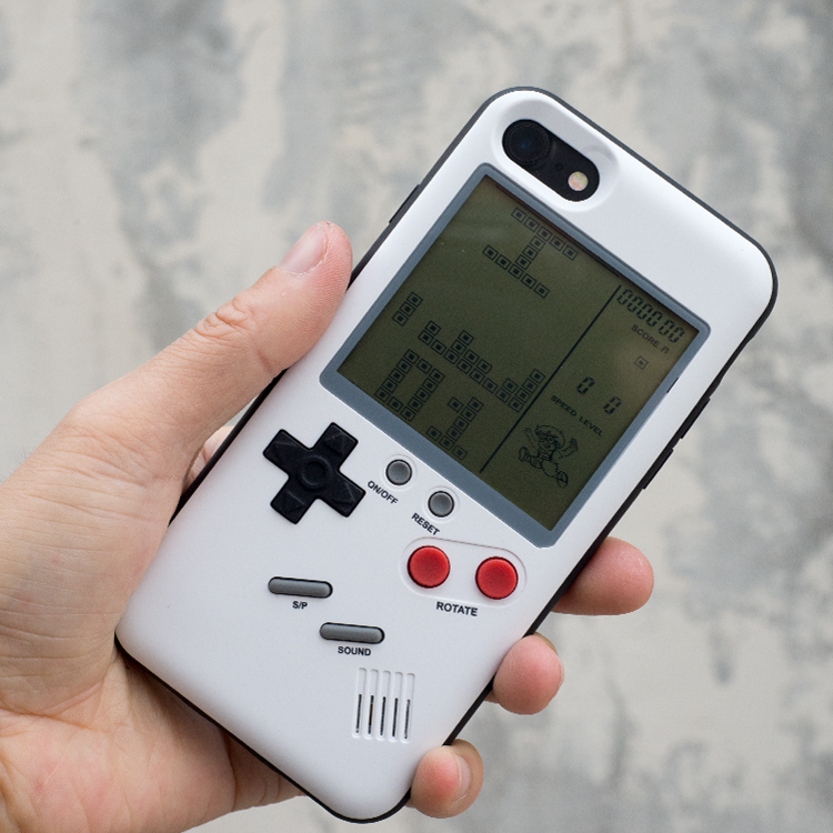 Retro GB Gameboy Tetris Phone Cases for iPhone 6 6S 7 8 Plus Soft TPU Can Play Blokus Game Console Cover For Iphone X Coque
