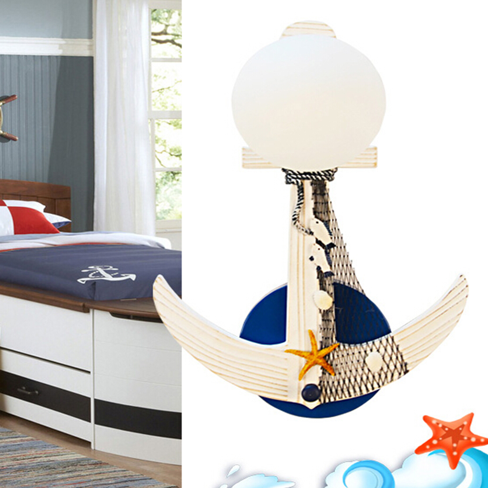 ModernHigh Quality Mediterranean Childrens Wall Lamp E27 Wall Led Lamp Boy Room Wall Light Wall Mounted Bedside Kids Lamps