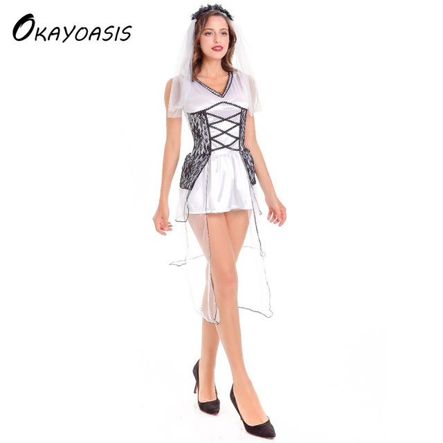 OKAYOASIS Free Shipping Sexy Bride Halloween Costume Adult Women Burlesque Costume Fancy Dress  sc 1 st  AliExpress.com & OKAYOASIS Free Shipping Sexy Bride Halloween Costume Adult Women ...
