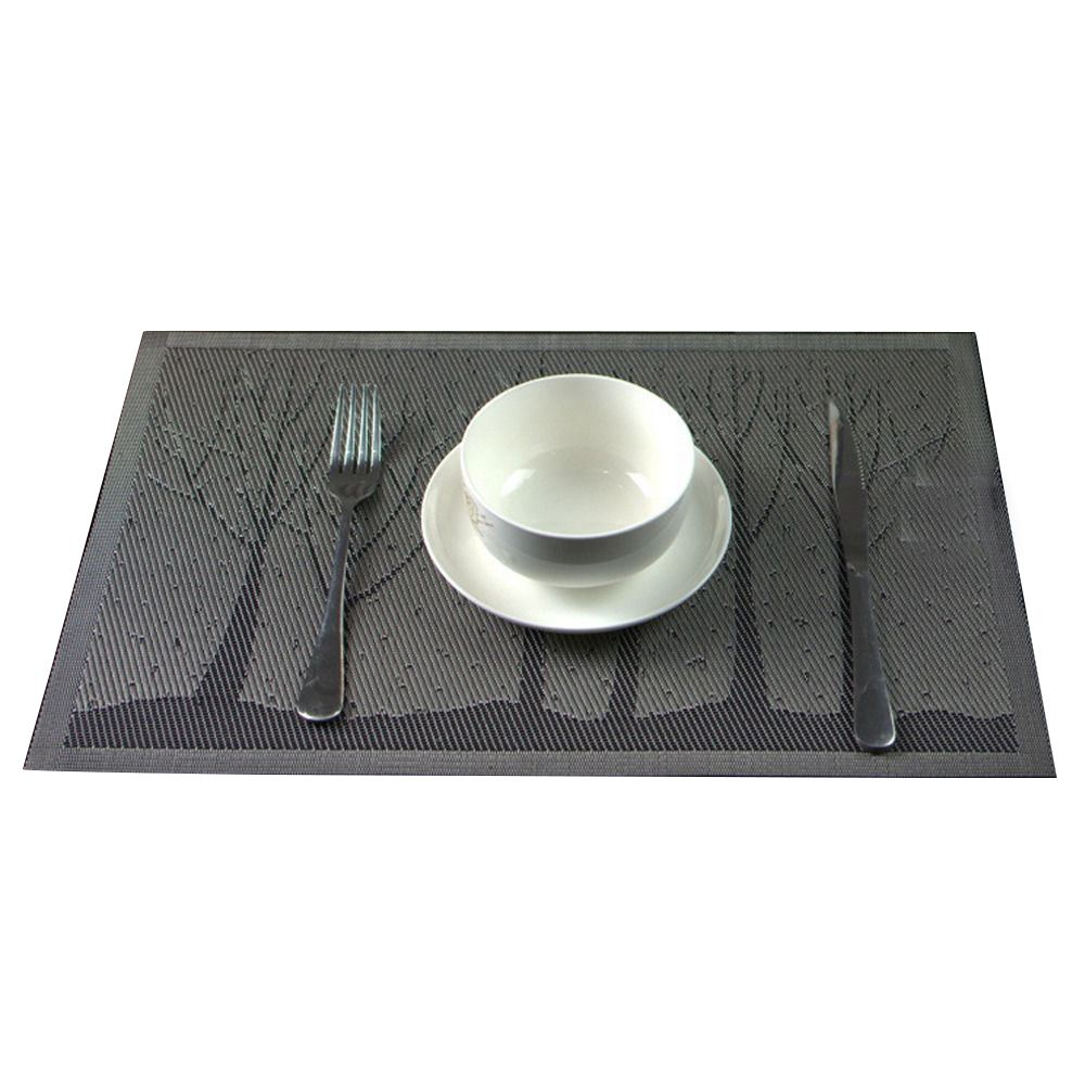 Горячая Распродажа дерево пвх изоляция чаша салфетки обеденный площадку Западной Коврики на стол, серый