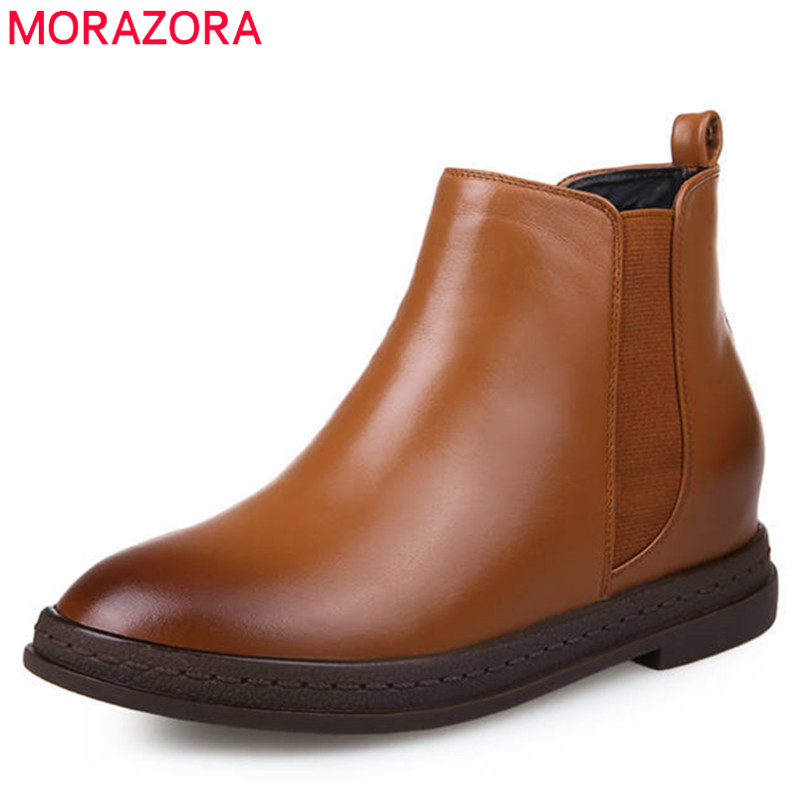 MORAZORA 2018 new fashion shoes woman genuine leather boots round toe autumn ankle boots women slip on dress shoes brown black 2017 new heavy bottomed genuine leather women boots black brown solid boots women shoes thick with round lace ankle boots zk2 5