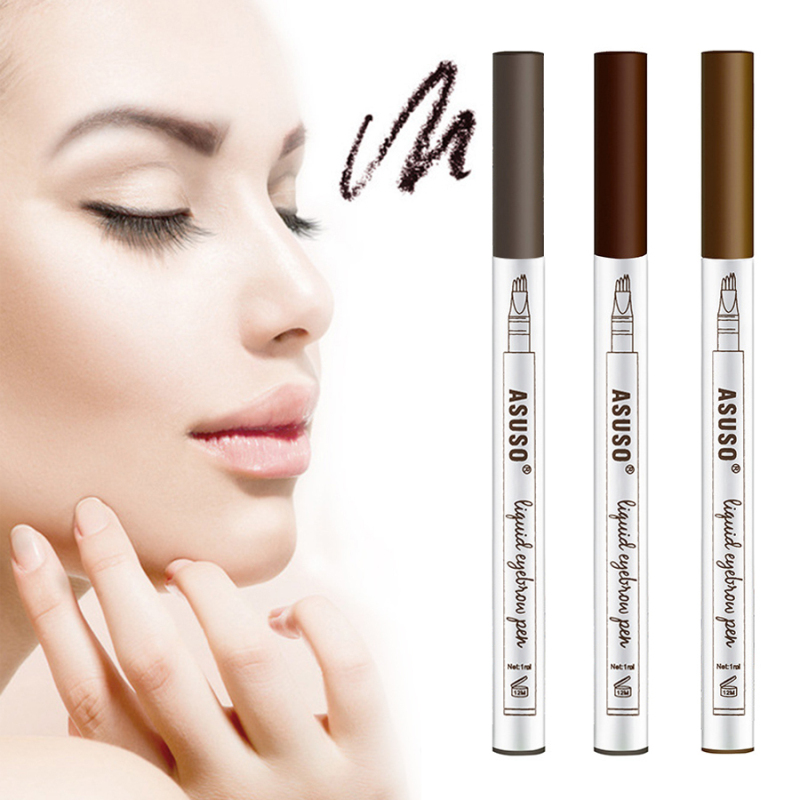 Dropshipping 1pc 4 Fork Tips Eyebrow Tattoo Pen Eyebrow Pencil Waterproof Best Seller 2018 Products Eyebrow Tint Makeup TSLM2 image