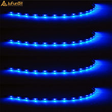 4Pcs LED Decorative Strip Light 30cm 12V 3528 15 SMD Blue Green Red LED Bulb Light Bar Car Flexible Strip Underbody Waterproof 18w 1200lm 635 700nm 300 smd 3528 led red light car flexible decoration strip dc 12v 500cm