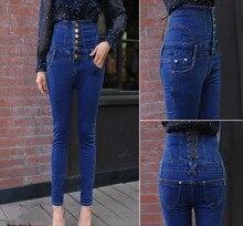 6XL Плюс размер женщины джинсовые брюки новая коллекция весна осень высокая талия однобортный Тонкий джинсы карандаш брюки T238