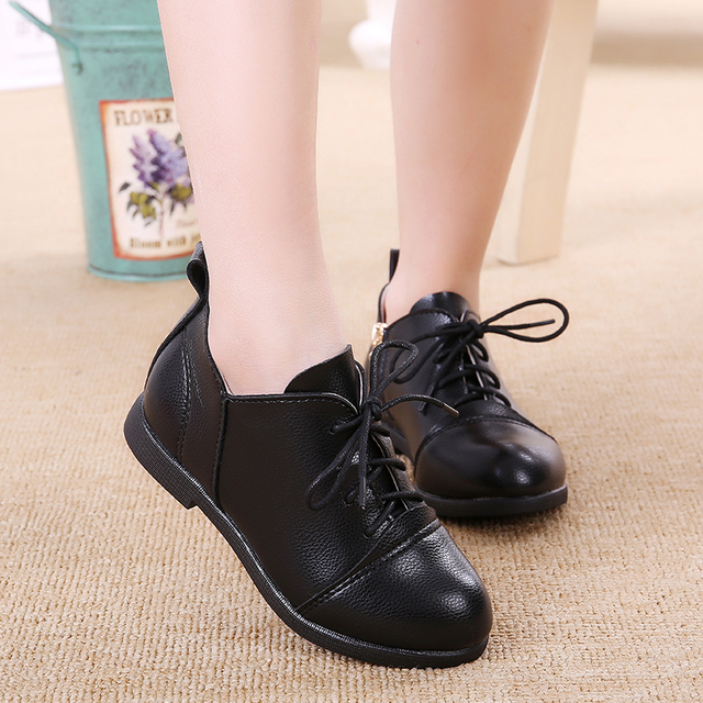 2017 Korean Girls Leather Shoes Spring Princess Flat Shoes Soft Sole Black  School Shoes For Children TX254 464b6090b6ee