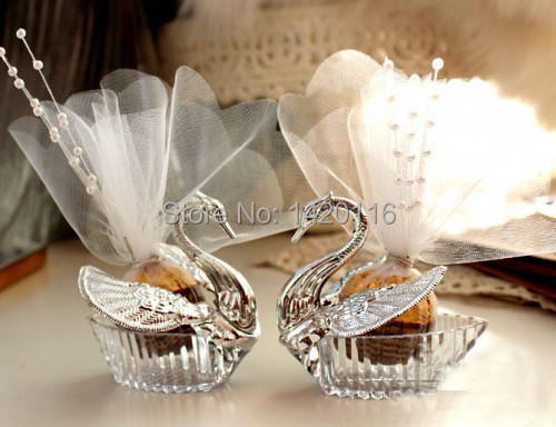 10Pieces Swan Wedding Favor Boxes/Gift Creative Selfdom Bomboniere Candy Boxes