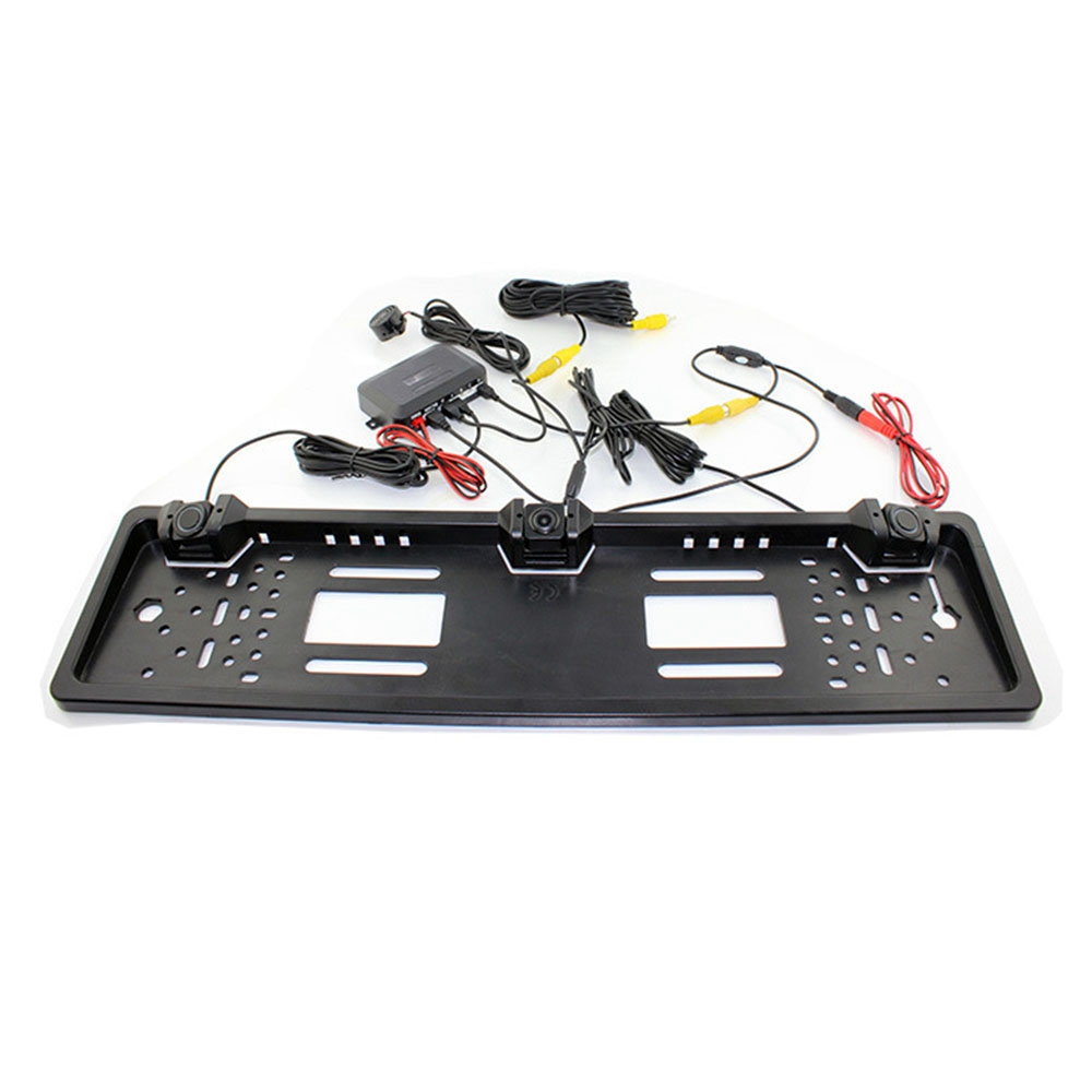 1 cadre de plaque d'immatriculation européenne + 1 caméra de recul de voiture + 2 capteurs de stationnement cadre de plaque d'immatriculation d'automobiles pour plaque d'immatriculation - 3