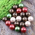 Free Shipping Christmas Decoration Beads 20MM 100Pcs/Lot Mixed Color Bead Printing Gold Swirl Beads For Kids Chunky Jewelry
