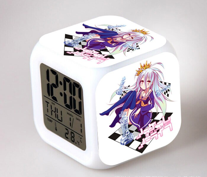 Japan Anime No game no life 7 Color Change Glowing Alarm Clock Gifts in Alarm Clocks from Home Garden