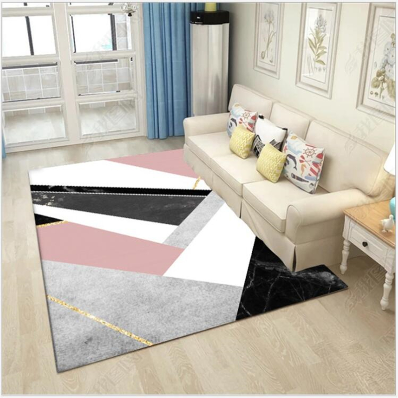 AOVOLL Nordic Geometric Pink Black Marble Carpet And Rugs For Bedroom Living Room Floor Mat Kitchen Mat Carpet Bedroom