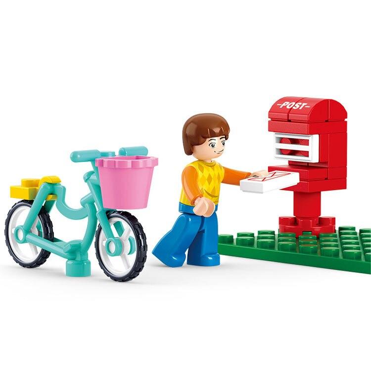 SLUBAN городской велосипед отправить письмо Строительные блоки Устанавливает Кукольный дом Кирпичи Модель Детские подарки игрушки Совместим...