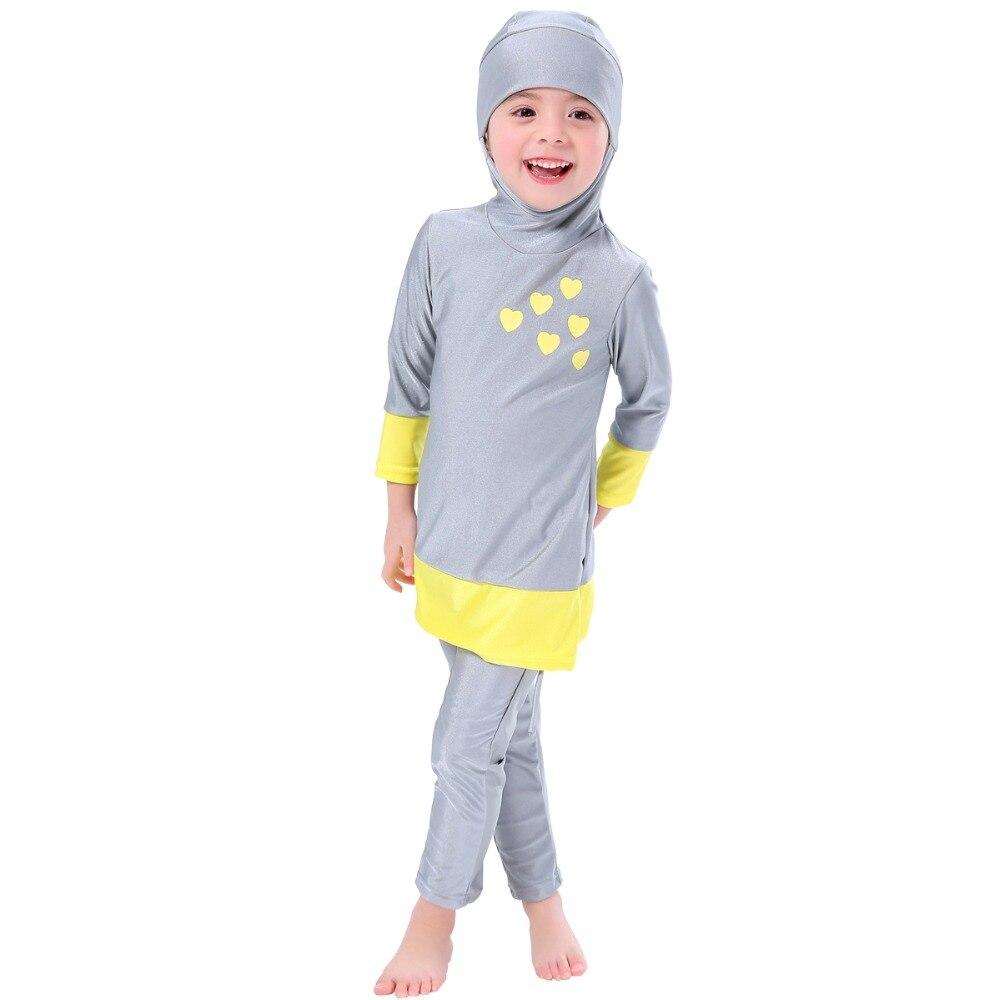 Girls Muslim Swimwears Islamic Children Two-piece Long Sleeve Swimsuits Arab Islam Beach Wear Swimming Diving Suits Burkinis