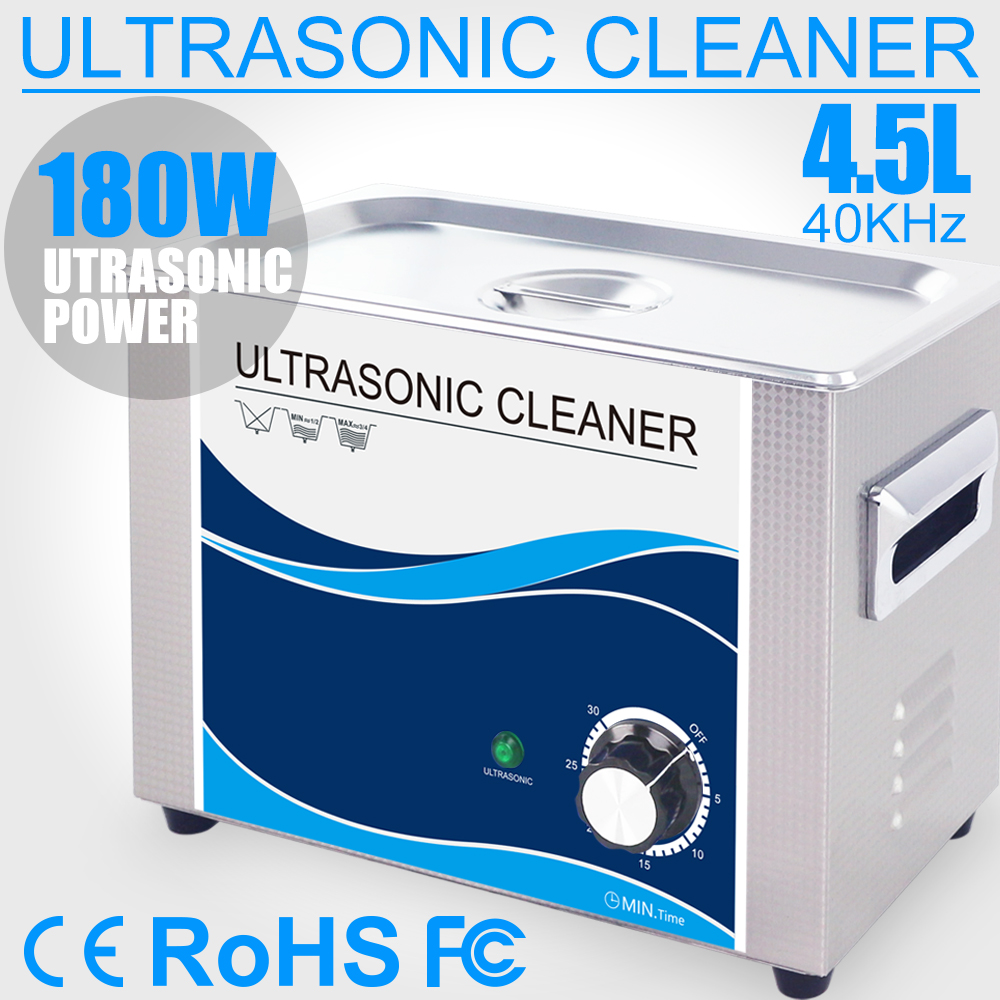 Ultrasound Cleaner 4.5L Power Transducer 180W Time Adjustable 0~30min Stainless Steel Ultrasonic Cleaning for Oil Stains