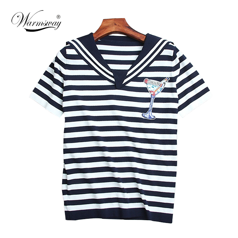 Camiseta femenina del verano Navy marinero estilo rayón tejido T ...