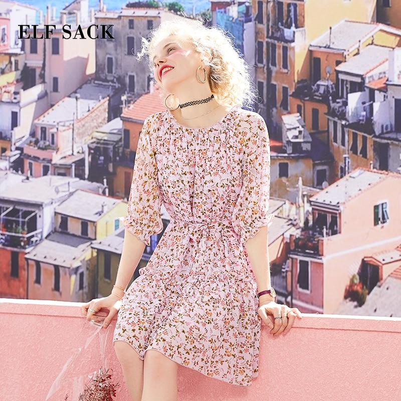 ELF SACK Pink Floral Women Dresses Summer Sweet Off Shoulder Female Holiday Dress Streetwear Casual Beach