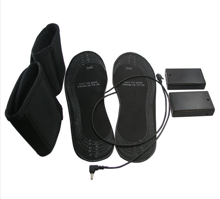 Eco Safe 1 Pair USB Electric Powered Heated Insoles For Shoes Boots Keep Feet Warm Size 38-46 EVA Material Warming Black Insoles