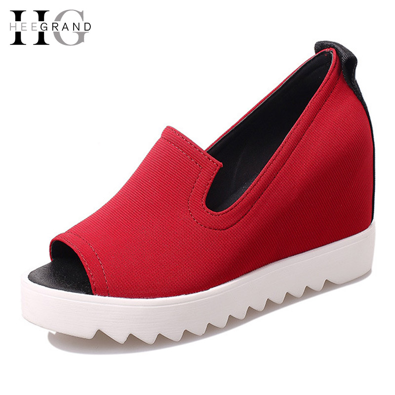 HEE GRAND Wedges Gladiator Sandals Summer Style Women Ankle Boots Platform Shoes Woman Slip On Flat Open Toe Women Shoes XWZ2583 phyanic summer gladiator sandals beach platform shoes woman wedges sandals slip on flats creepers casual women shoes phy3337