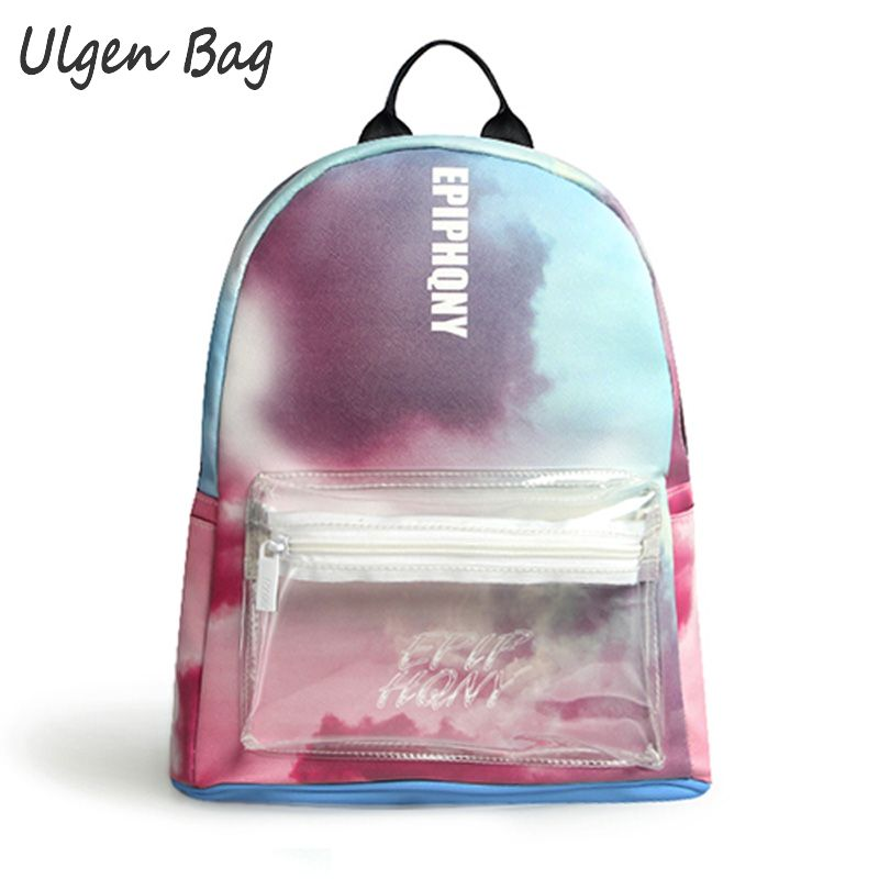 ФОТО New Tie-dye backpack for teenage girls PU backpacks with transparent pocket women fashion daypack