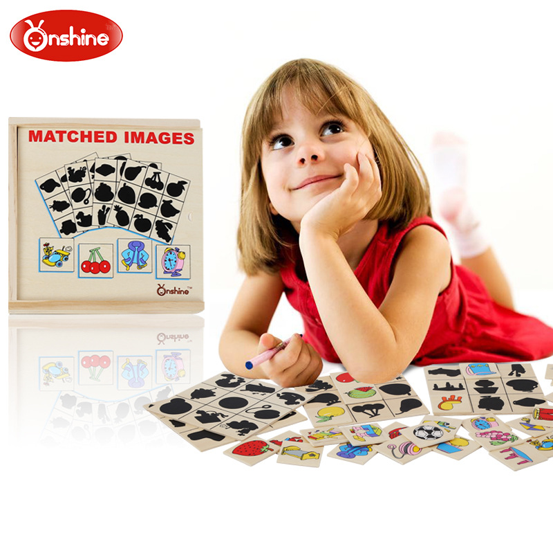 ONSHINE Wooden Matched Images Puzzle Shadow Puzzle game board children early childhood education puzzle toys