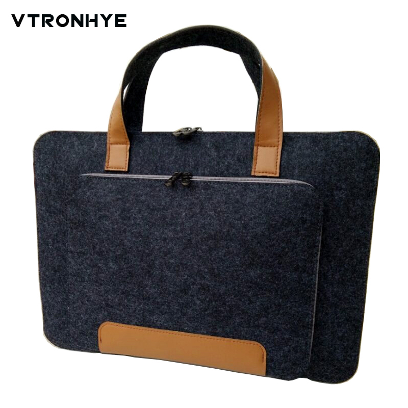 11 13 14 15.6 17.3 inch Zipper Wool Felt Laptop Bags Super Light Computer Bag Handbag for Macbook HP Dell Acer Laptop Bag 15.6""