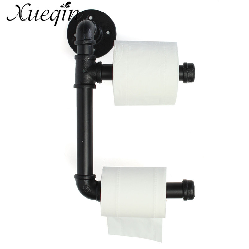Xueqin Black Toilet Paper Holder Industrial Urban Style Iron Pipe Double Roller Home Bathroom Hardware Roll Tissue Paper Holder