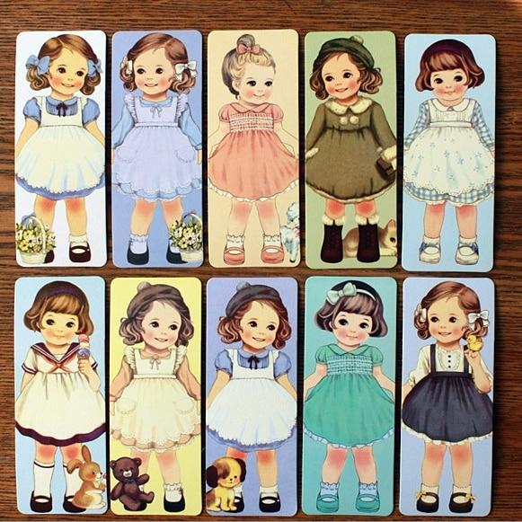 ₪30sheets Pack Retro Kawaii Doll ୧ʕ ʔ୨ Bookmark Bookmark
