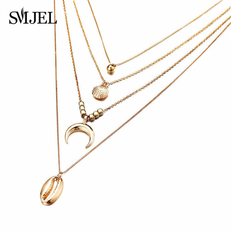 SMJEL Bohemian Multi layer Shell Necklaces For Women Girl Fashion Gold Sliver Color Shell Moon Pendant Necklace Collar Jewelry