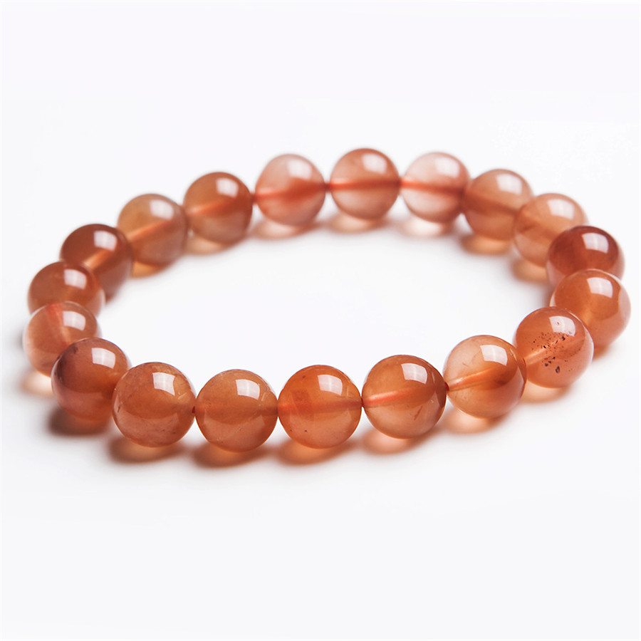 10mm Precious Natural Red Rabbit Hair Fur Rutilated Quartz Ladies Bracelet Charm Stretch Clear Round Crystal Beads Bracelet