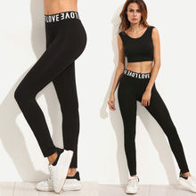 2019 Newest Women Workout Pants Casual Leggings Ladies Fitness Stretch Trousers Black Letter