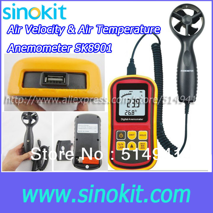 Air velocity & Air Temperature Wholesales Anemometer Meter SK8901
