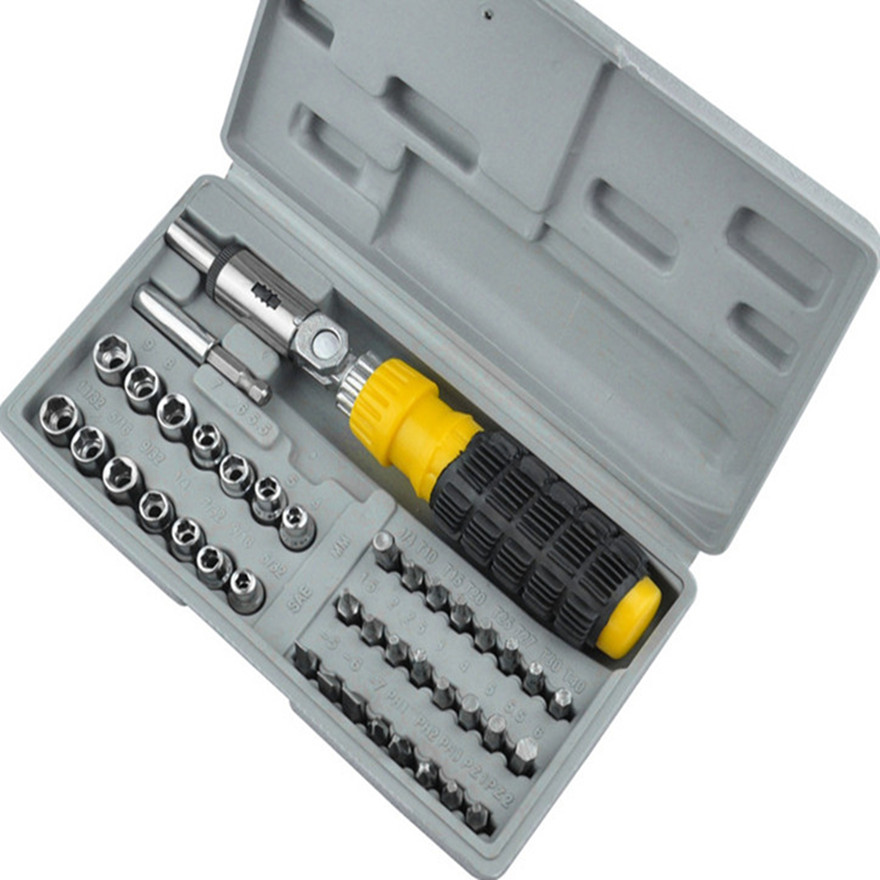 41PC Combination Toolbox Socket Screwdriver Hardware Tool Repair Assembly